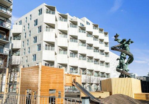 Opførelse af Kromagrafen - 10 etagers ejendom i Ørestaden